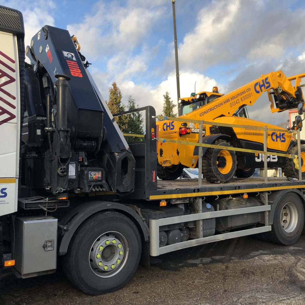 CHS JCB on the back of a Hiab truck