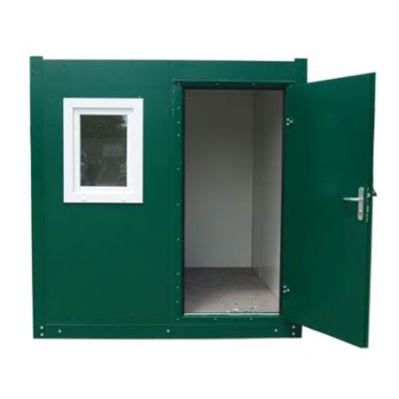 Green welfare unit with door open