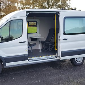Welfare van with side door open