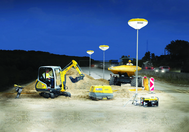 Balloon lights onsite at night on a road
