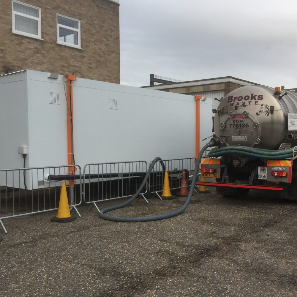 Portaloos and waste disposal truck